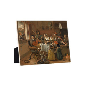 Image of our reproduction of The Merry Family by Jan Havicksz. Steen on ceramic tiles with easelback, small