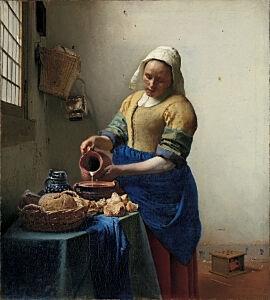 Afbeelding van onze reproductie van Het melkmeisje by Johannes Vermeer op canvas, klein