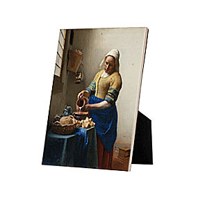 Image of our reproduction of The Milkmaid on tile with easelback by Johannes Vermeer on ceramic tiles with easelback, small