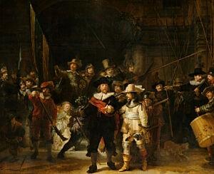 Afbeelding van onze reproductie van De nachtwacht by Rembrandt van Rijn op canvas, klein