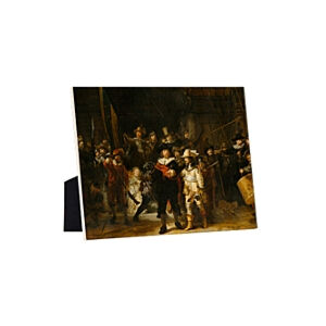 Image of our reproduction of The Night Watch by Rembrandt van Rijn on ceramic tiles with easelback, small