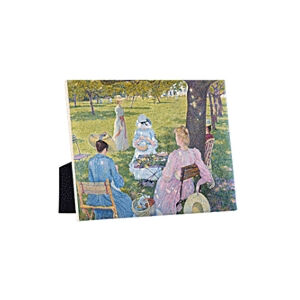 Image of our reproduction of The Orchard by Théo van Rysselberghe on ceramic tiles with easelback, small