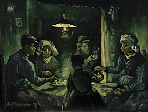 Afbeelding van onze reproductie van De aardappeleters by Vincent van Gogh op canvas, klein