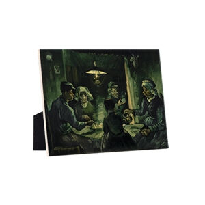 Image of our reproduction of The Potato Eaters by Vincent van Gogh on ceramic tiles with easelback, small