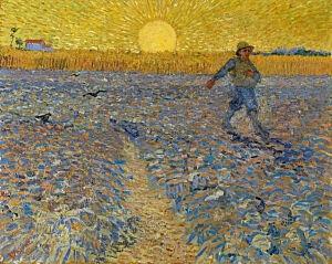 Afbeelding van onze reproductie van De zaaier by Vincent van Gogh op canvas, klein