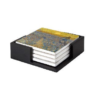 Image of our reproduction of The Sower by Vincent van Gogh on ceramic coaster sets, small