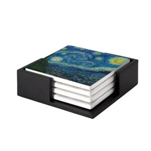 Image of our reproduction of The Starry Night by Vincent van Gogh on ceramic coaster sets, small