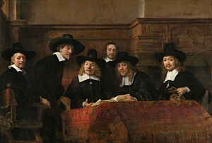 Afbeelding van onze reproductie van De staalmeesters by Rembrandt van Rijn op canvas, klein