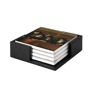 Image of our reproduction of The Syndics by Rembrandt van Rijn on ceramic coaster sets, small