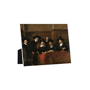 Image of our reproduction of The Syndics by Rembrandt van Rijn on ceramic tiles with easelback, small