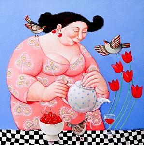 Afbeelding van onze reproductie van Thee visite by Ada Breedveld op canvas, klein