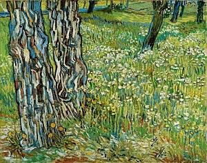 Afbeelding van onze reproductie van Boomstammen in het gras by Vincent van Gogh op canvas, klein