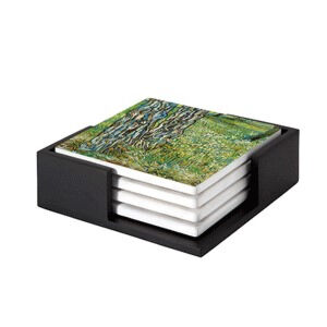 Image of our reproduction of Tree Trunks in the Grass by Vincent van Gogh on ceramic coaster sets, small
