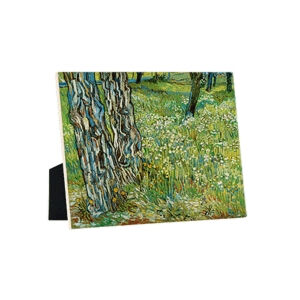 Image of our reproduction of Tree Trunks in the Grass by Vincent van Gogh on ceramic tiles with easelback, small