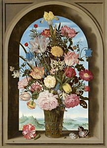 Image of our reproduction of Vase of Flowers in a Window by Ambrosius Bosschaert de Oude on canvas, small