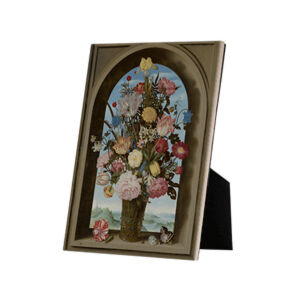 Image of our reproduction of Vase of Flowers in a Window by Ambrosius Bosschaert de Oude on ceramic tiles with easelback, small