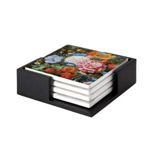 Image of our reproduction of Vase of Flowers by Jan Davidsz. de Heem on ceramic coaster sets, small
