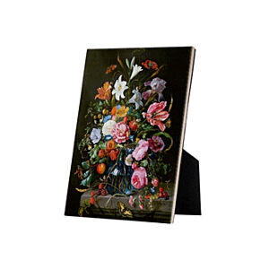 Image of our reproduction of Vase of Flowers by Jan Davidsz. de Heem on ceramic tiles with easelback, small