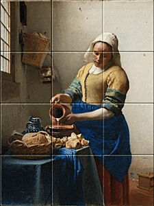 Small image of our reproduction of The Milkmaid by Johannes Vermeer on ceramic tiles tableaus