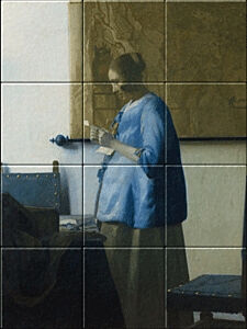 Small image of our reproduction of Woman Reading a Letter by Johannes Vermeer on ceramic tiles tableaus