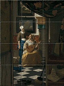 Small image of our reproduction of The Love Letter by Johannes Vermeer on ceramic tiles tableaus