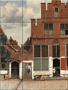 Small image of our reproduction of The Little Street by Johannes Vermeer on ceramic tiles tableaus