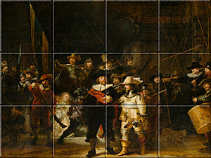 Small image of our reproduction of The Night Watch by Rembrandt van Rijn on ceramic tiles tableaus