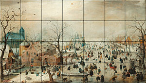 Small image of our reproduction of Winter Landscape with Ice Skaters by Hendrick Avercamp on ceramic tiles tableaus