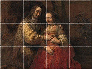 Small image of our reproduction of The Jewish Bride by Rembrandt van Rijn on ceramic tiles tableaus