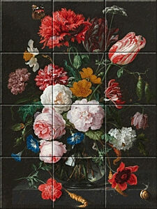 Small image of our reproduction of Still Life with Flowers in a Glass Vase by Jan Davidsz. de Heem on ceramic tiles tableaus