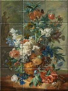 Small image of our reproduction of Still Life with Flowers by Jan van Huysum on ceramic tiles tableaus