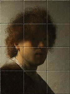 Small image of our reproduction of Self-portrait Rembrandt van Rijn by Rembrandt van Rijn on ceramic tiles tableaus