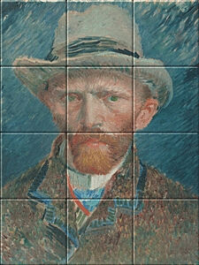 Small image of our reproduction of Self-portrait Vincent van Gogh by Vincent van Gogh on ceramic tiles tableaus
