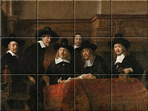 Small image of our reproduction of The Syndics by Rembrandt van Rijn on ceramic tiles tableaus