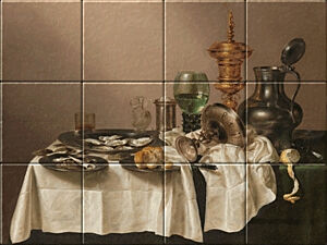Small image of our reproduction of Still Life with a Gilt Cup by Willem Claesz. Heda on ceramic tiles tableaus