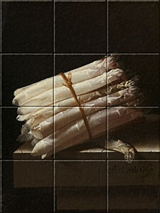 Small image of our reproduction of Still Life with Asparagus by Adriaen Coorte on ceramic tiles tableaus