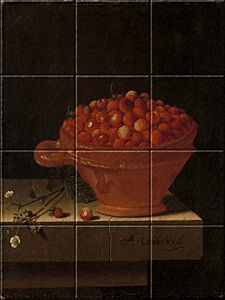 Small image of our reproduction of A Bowl of Strawberries on a Stone Plinth by Adriaen Coorte on ceramic tiles tableaus