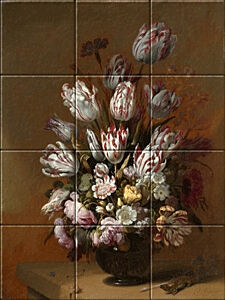 Small image of our reproduction of Floral Still Life by Hans Bollongier on ceramic tiles tableaus