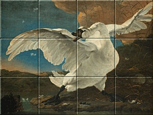 Small image of our reproduction of The Threatened Swan by Jan Asselijn on ceramic tiles tableaus