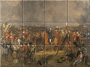 Small image of our reproduction of The Battle of Waterloo by Jan Willem Pieneman on ceramic tiles tableaus