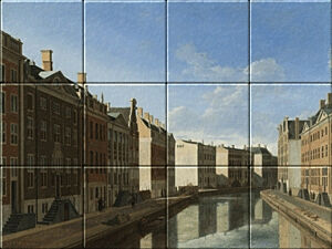 Small image of our reproduction of View of the Golden Bend in the Herengracht by Gerrit Adriaensz. Berckheyde on ceramic tiles tableaus