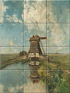 Small image of our reproduction of A Windmill on a Polder Waterway by Paul Joseph Constantin Gabriel on ceramic tiles tableaus