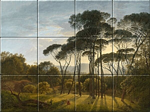 Small image of our reproduction of Italian Landscape with Umbrella Pines by Hendrik Voogd on ceramic tiles tableaus