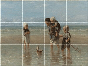 Small image of our reproduction of Children of the Sea by Jozef Israels on ceramic tiles tableaus