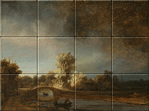 Small image of our reproduction of Landscape with a Stone Bridge by Rembrandt van Rijn on ceramic tiles tableaus