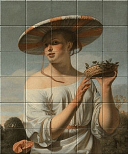 Small image of our reproduction of Girl in a Large Hat by Ceasar Boetius van Everdingen on ceramic tiles tableaus