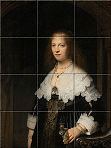 Small image of our reproduction of Portrait of a Woman by Rembrandt van Rijn on ceramic tiles tableaus