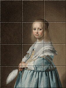 Small image of our reproduction of Portrait of a Girl Dressed in Blue by Johannes Cornelisz. Verspronck on ceramic tiles tableaus