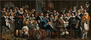 Small image of our reproduction of Banquet at the Crossbowmen's Guild in Celebration of the Treaty of Munster by Bartholomeus van der Helst on ceramic tiles tableaus