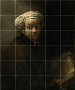 Small image of our reproduction of Self-portrait as the Apostle Paul by Rembrandt van Rijn on ceramic tiles tableaus